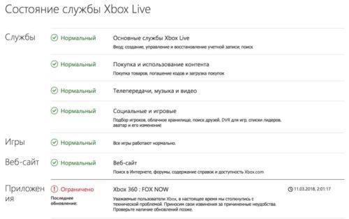 Пример работоспособности сервисов Xbox Live и ошибки